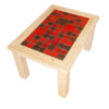 wooden coffee table with a mixture of red handmade ceramic tiles and rusted iron tiles.