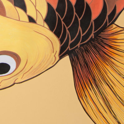 Detalle aleta y cabeza de carpa naranja, marrón, amarilla y negras. Fin and head detail of orange, yellow, brown and black koi illustration on the wall.