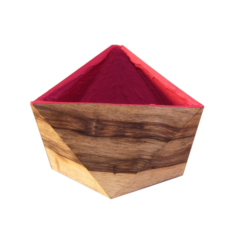 Faceted regular plant pot, veneered with wood outside and magenta inside