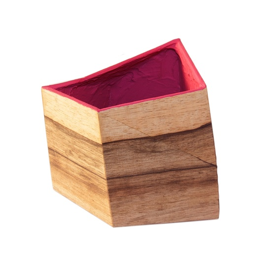 Faceted irregular plant pot, veneered with wood outside and magenta inside