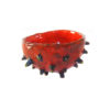 blowfish-like red ceramic bowl with spikes