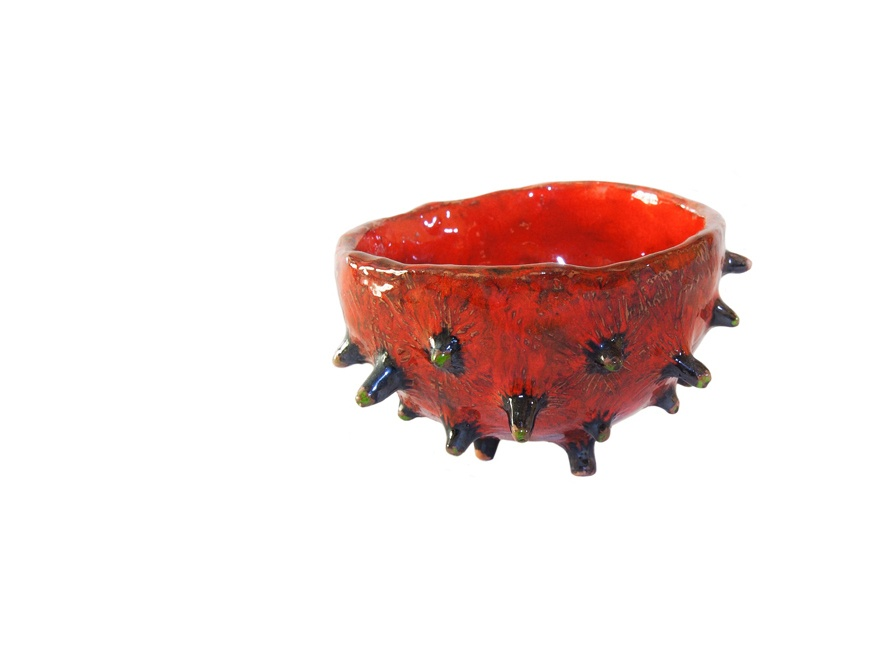 blow-fish-like red ceramic spiky bowl